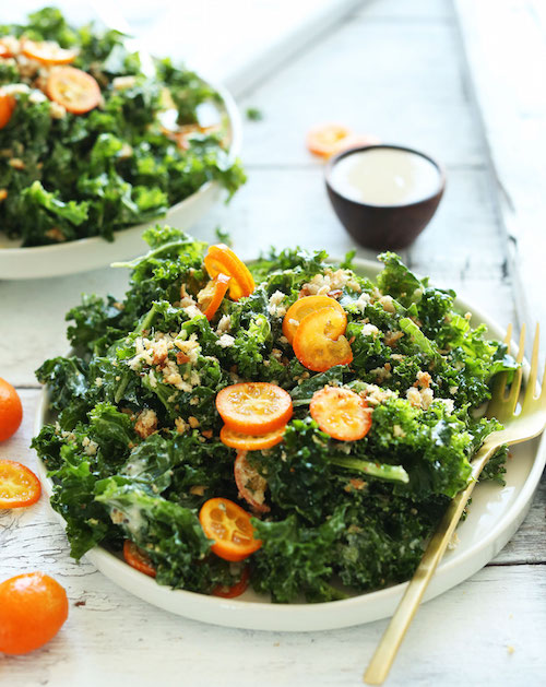 HEALTHY-SIMPLE-Kale-Salad-with-Kumquats-Chia-Seeds-and-a-quick-Tahini-Dressing-So-satisfying-and-quick-vegan-recipe-salad-healthy-kale
